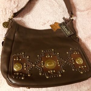 NWT American Brown Leather Bag with Studs $278 MRP